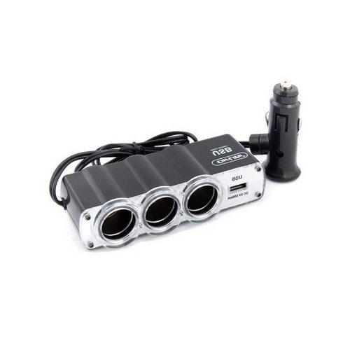 Adapter szivargyújtó elosztó 4 aljzattal és USB aljzattal lengő csatlakozóval