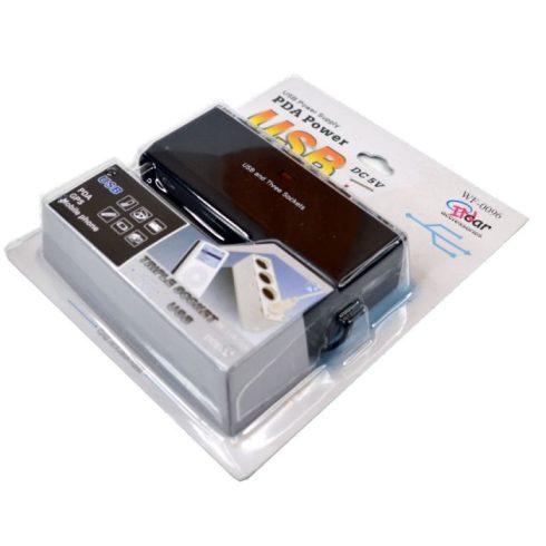 Adapter szivargyújtó elosztó 3 aljzattal USB csatlakozóval 12V 24V
