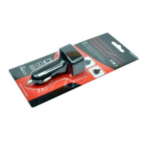 Autós USB töltő két aljzattal és feszültség ellenőrzéssel 12V