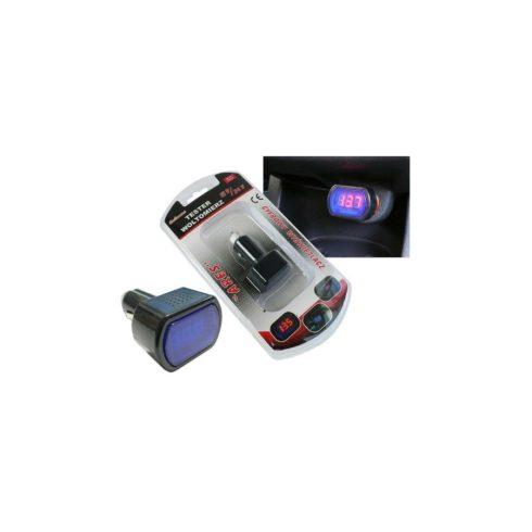 Autós USB töltő 5V 3A feszültségkijelzéssel 12/24V rendszerekhez