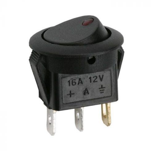 Kapcsoló billenő gombos egy áramkörös LED jelzőfénnyel 16A