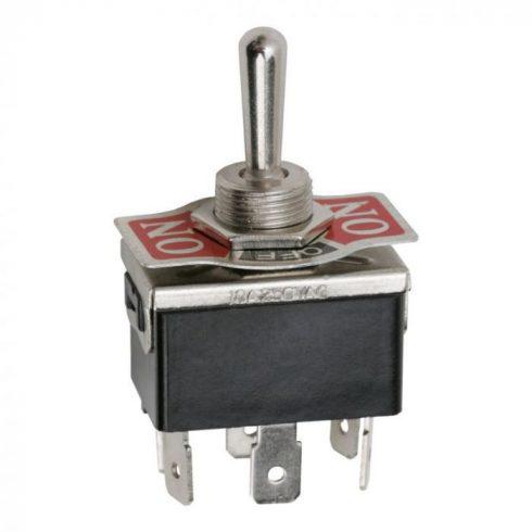 Kapcsoló 3 állású karos 2 áramkörös ON-OFF-ON panellel